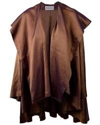 Темно-коричневое пальто-накидка