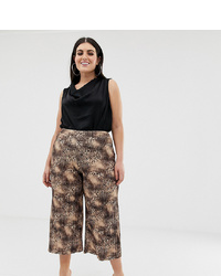 Темно-коричневые брюки-кюлоты с леопардовым принтом от Missguided Plus