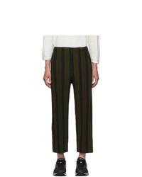 Темно-коричневые брюки чинос в вертикальную полоску
