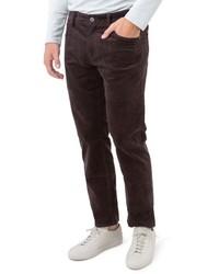 Темно-коричневые вельветовые брюки чинос