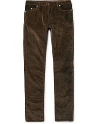 Темно-коричневые вельветовые джинсы