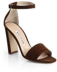 Темно-коричневые замшевые босоножки на каблуке