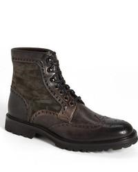 Темно-коричневые замшевые ботинки броги