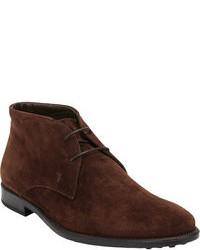 Темно-коричневые замшевые ботинки дезерты