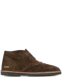 Темно-коричневые замшевые ботинки дезерты от Golden Goose