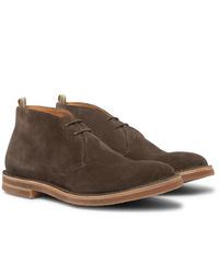 Темно-коричневые замшевые ботинки дезерты от Officine Creative