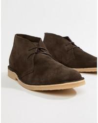 Темно-коричневые замшевые ботинки дезерты от Pier One