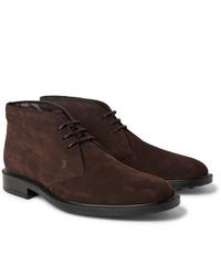 Темно-коричневые замшевые ботинки дезерты от Tod's