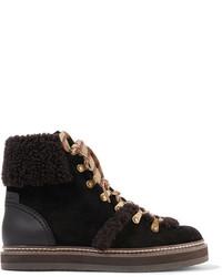 Темно-коричневые замшевые ботинки на шнуровке