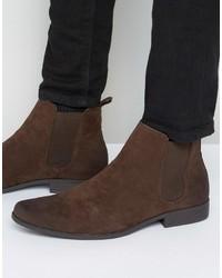 Мужские темно-коричневые замшевые ботинки челси от Asos