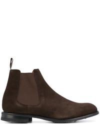 Мужские темно-коричневые замшевые ботинки челси от Church's