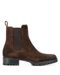 Мужские темно-коричневые замшевые ботинки челси от DSQUARED2
