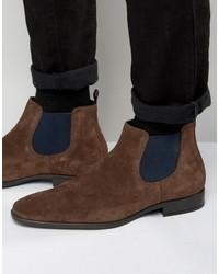 Мужские темно-коричневые замшевые ботинки челси от Dune
