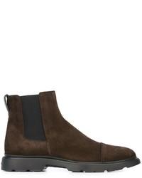 Мужские темно-коричневые замшевые ботинки челси от Hogan