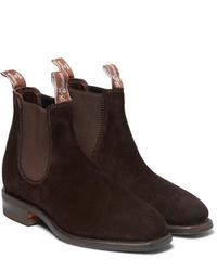 Мужские темно-коричневые замшевые ботинки челси от R.M. Williams