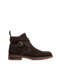 Мужские темно-коричневые замшевые ботинки челси от Salvatore Ferragamo