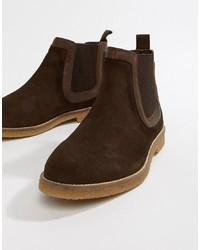 Мужские темно-коричневые замшевые ботинки челси от Silver Street
