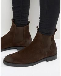 Мужские темно-коричневые замшевые ботинки челси от Zign Shoes