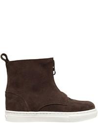 Темно-коричневые замшевые ботинки