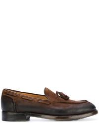 Темно-коричневые замшевые лоферы с кисточками с украшением от Eleventy