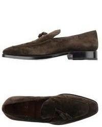 Темно-коричневые замшевые лоферы с кисточками