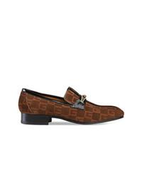 Мужские темно-коричневые замшевые лоферы с принтом от Gucci