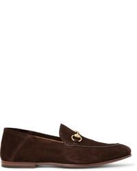 Мужские темно-коричневые замшевые лоферы от Gucci