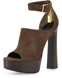 0364b6035e8b Купить темно-коричневые замшевые массивные босоножек на каблуке ...