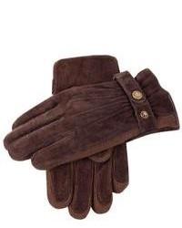 Темно-коричневые замшевые перчатки