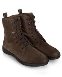 Темно-коричневые замшевые повседневные ботинки