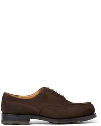 Мужские темно-коричневые замшевые туфли дерби