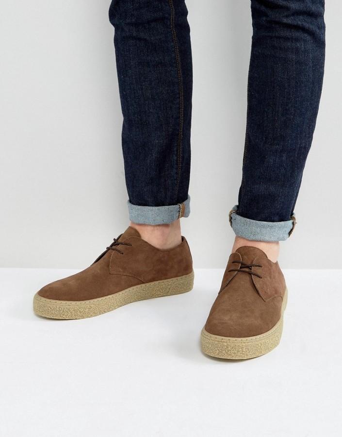 Темно-коричневые замшевые туфли дерби