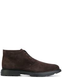 Мужские темно-коричневые замшевые туфли дерби от Hogan