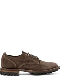 Мужские темно-коричневые замшевые туфли дерби от Officine Creative