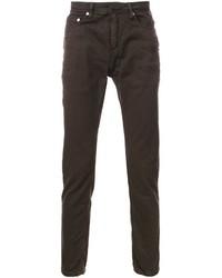 Темно-коричневые зауженные джинсы