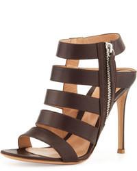 Темно-коричневые кожаные босоножки на каблуке