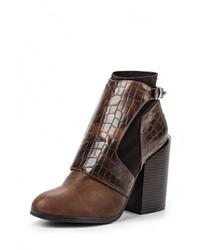 Женские темно-коричневые кожаные ботильоны от LOST INK