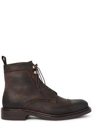 Темно-коричневые кожаные ботинки броги
