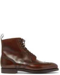 Мужские темно-коричневые кожаные ботинки броги