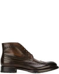 Темно-коричневые кожаные ботинки броги от Canali