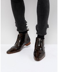 Темно-коричневые кожаные ботинки броги от Jeffery West