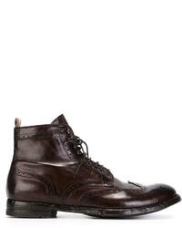 Темно-коричневые кожаные ботинки броги от Officine Creative