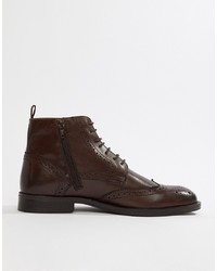 Темно-коричневые кожаные ботинки броги от Pier One