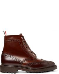 Темно-коричневые кожаные ботинки броги от Thom Browne