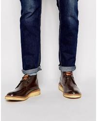 Темно-коричневые кожаные ботинки дезерты от Original Penguin