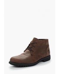 Темно-коричневые кожаные ботинки дезерты от Timberland