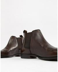 Мужские темно-коричневые кожаные ботинки челси от ASOS DESIGN