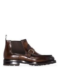 Мужские темно-коричневые кожаные ботинки челси от Santoni