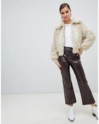 Темно-коричневые кожаные брюки-кюлоты от Monki