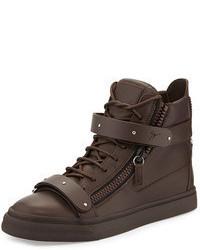 Темно-коричневые кожаные высокие кеды